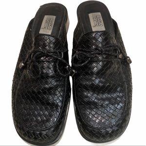 Franco Fortini Black Woven Leather Mule Slides 7.5